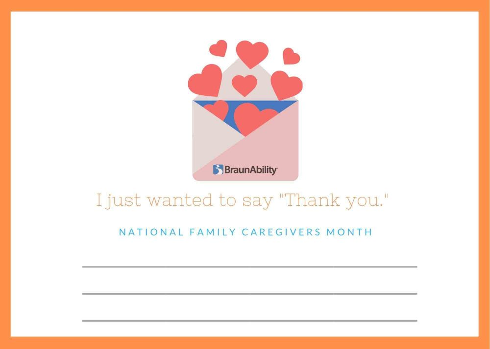 Download and fill out the Thank You card for caregivers. Let a caregiver in your life know how much you appreciate what they do.