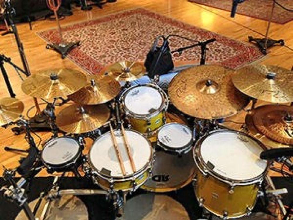 Overhead view of a modified drum kit