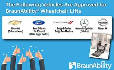 Brands of vehicles compatible with BraunAbility wheelchair lifts