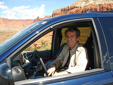 A ten time repeat BraunAbility buyer, Wil Friedman pictured in his van