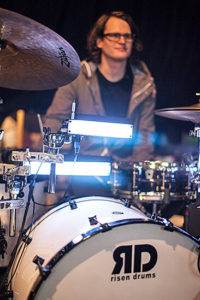 Gabriel Hagen with his Risen drum set and triggers