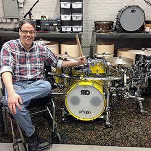 Jason Gerling, a wheelchair drummer, with his specialized kit.