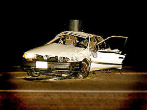 Jason Gerling's car after he fell asleep at the wheel.