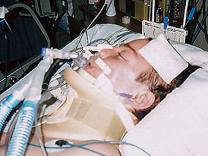 Jason Gerling in the hospital after his accident.
