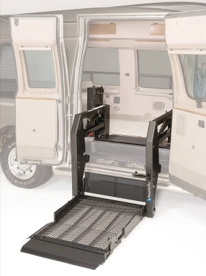 A BraunAbility Millennium Series lift shown on a full-size van