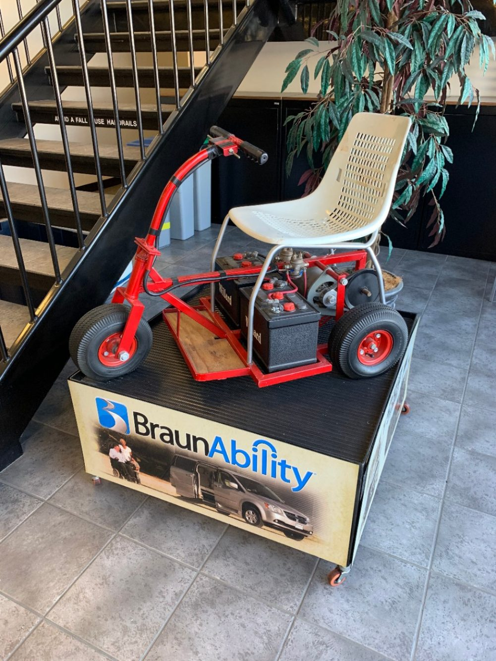 Ralph Braun early prototype of Tri-Wheeler, motorized wheelchair