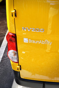 Rear panel of the BraunAbility wheelchair accessible taxi