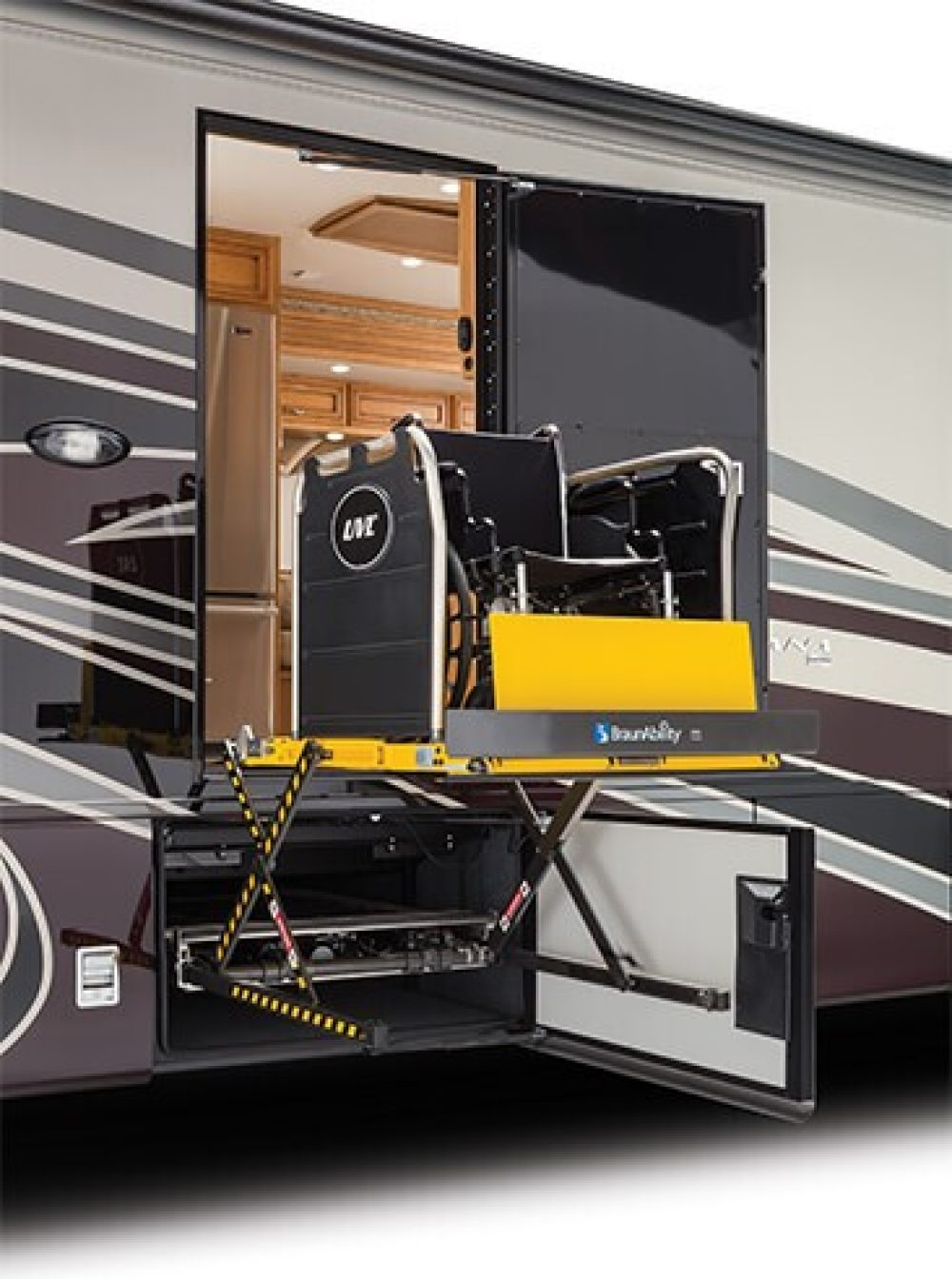 BraunAbility Under Vehicle Lift equipped for accessible RV travel|Sample Bathroom for accessible RV travel complete with grab bars|Newmar Accessible RV travel wheelchair shower