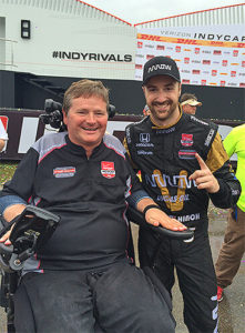 Sam Schmidt poses with driver James Hinchcliffe