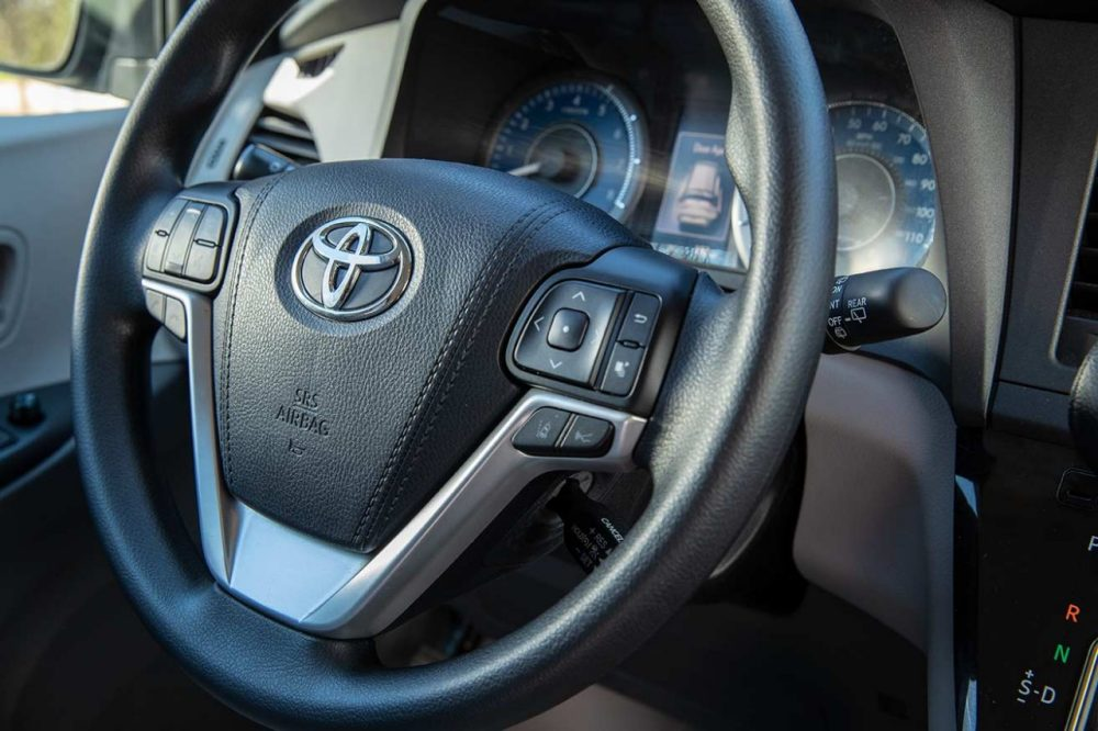 Toyota steering wheel close up without hand controls