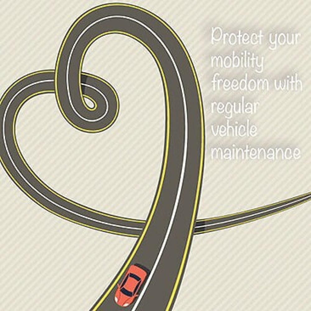Road heart graphic with the description 'Protect your mobility freedom with regular vehicle maintenance'