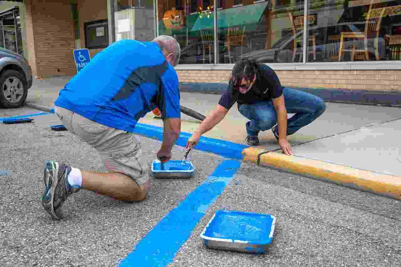 painting handicap parking spots