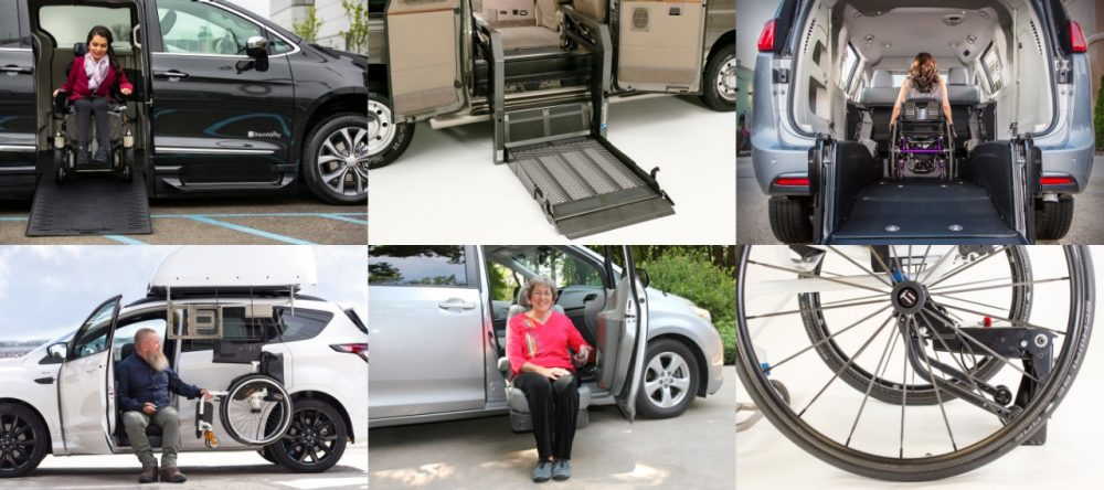 BraunAbility Mobility product collage featuring wheelchair accessible vehicles and wheelchair securement products