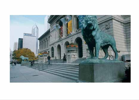 Lion statue in Chicago, Illinois.