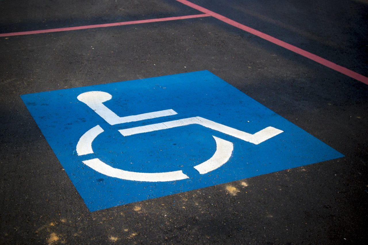 handicap symbol in a parking space