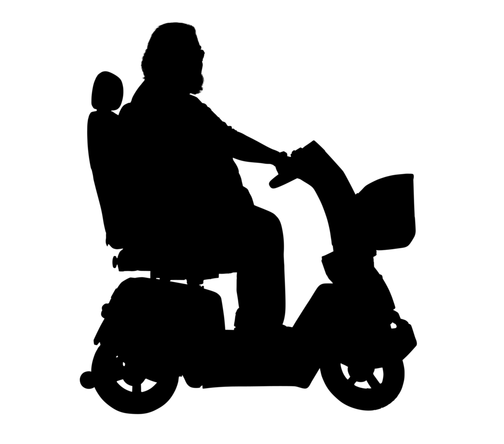 a black and white image of a person on a power scooter