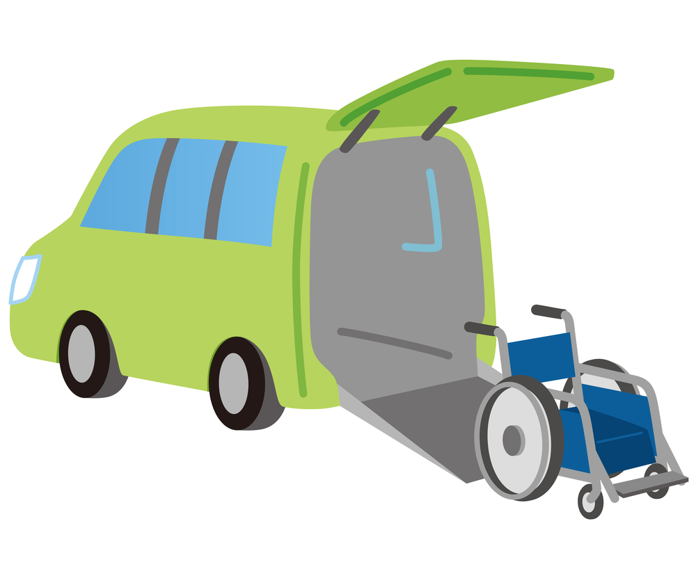 an illustration of a bright green commercial wheelchair van with a blue wheelchair sitting outside of the ramp