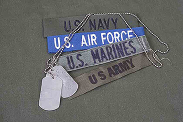 US military branch uniform patches with dog tags